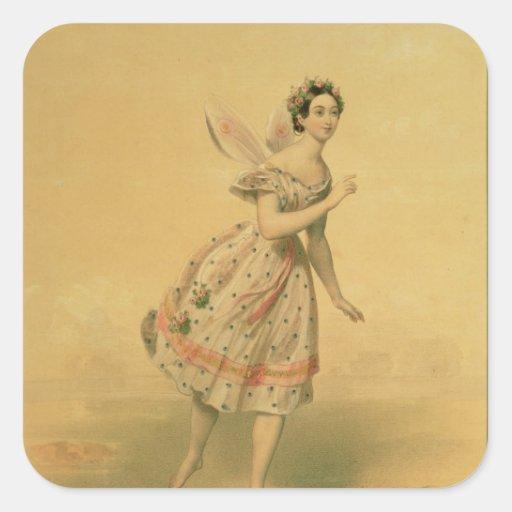 Bailarín Maria Taglioni Pegatina Cuadrada