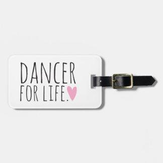 Bailarín para el blanco de la vida con el corazón etiquetas maleta