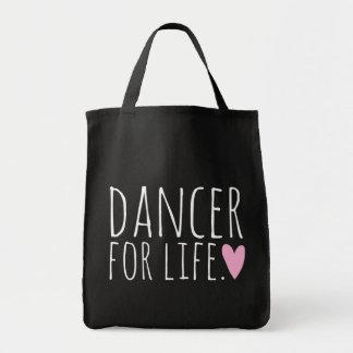 Bailarín para el negro de la vida con el corazón bolsa de mano