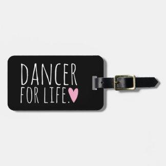 Bailarín para el negro de la vida con el corazón etiqueta para equipaje