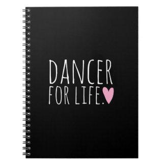 Bailarín para el negro de la vida con el corazón libro de apuntes con espiral