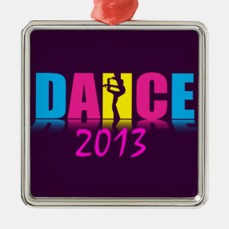 Bailarín personalizado de la danza adorno cuadrado plateado