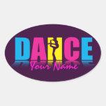 Bailarín personalizado de la danza pegatina ovalada