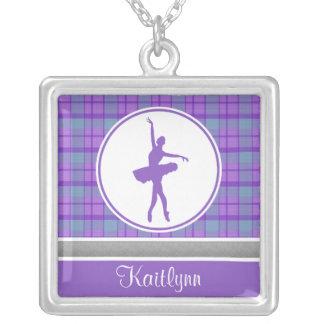 Bailarín púrpura personalizado de la tela escocesa colgante cuadrado