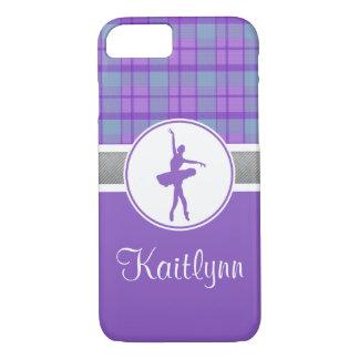 Bailarín púrpura personalizado de la tela escocesa funda iPhone 7