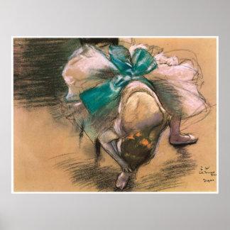 Bailarín que ata su cinta del zapato, 1886, Edgar  Póster