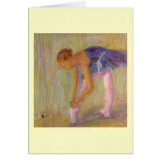 Bailarín que ata sus zapatos de ballet, tarjeta