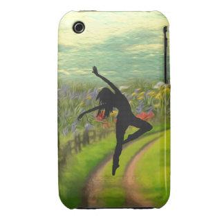 Bailarín que baila cerca del campo de flores iPhone 3 Case-Mate cárcasas