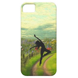 Bailarín que baila cerca del campo de flores iPhone 5 carcasa
