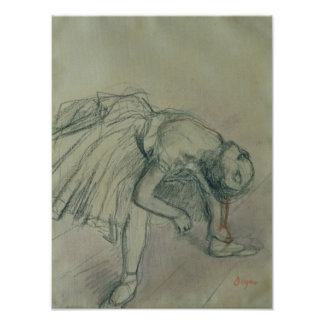 Bailarín que fija su deslizador, c.1865 póster