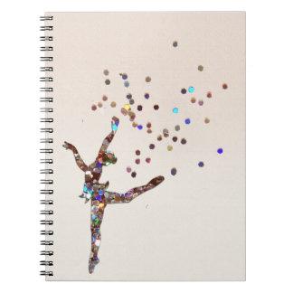 Bailarín reluciente libro de apuntes con espiral