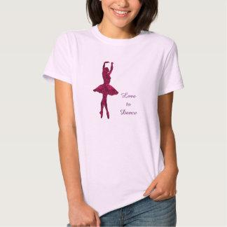 Bailarín rosado del corazón remera