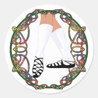 Bailarín suave del zapato - Celtic Knotwork Etiqueta Redonda