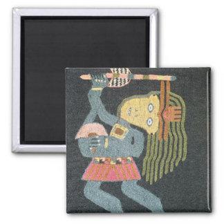 Bailarín tejido de las lanas con el bastón, tribu  imán cuadrado