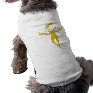 Bailarín travieso de un amarillo más profundo de l playera sin mangas para perro