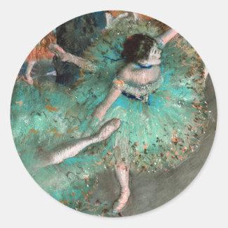 Bailarín verde bailarina Verte Edgar Degas Etiquetas Redondas