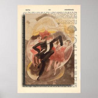 Bailarín y estribillo C. 1918 del vodevil de la Posters