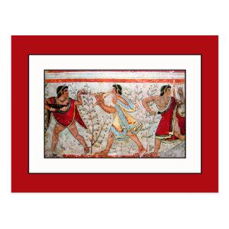 Bailarín y músicos de Etruscan Tarjeta Postal