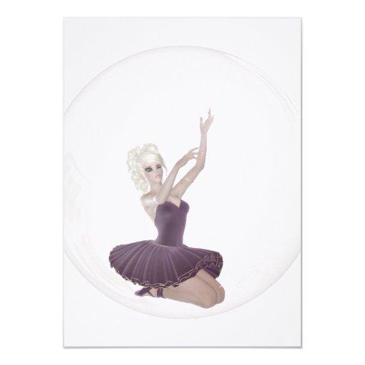 bailarina 2 de la burbuja 3D Invitación 11,4 X 15,8 Cm