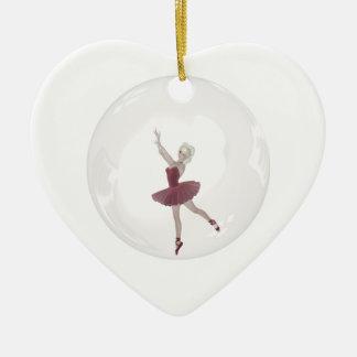 bailarina 3 de la burbuja 3D Adorno Navideño De Cerámica En Forma De Corazón