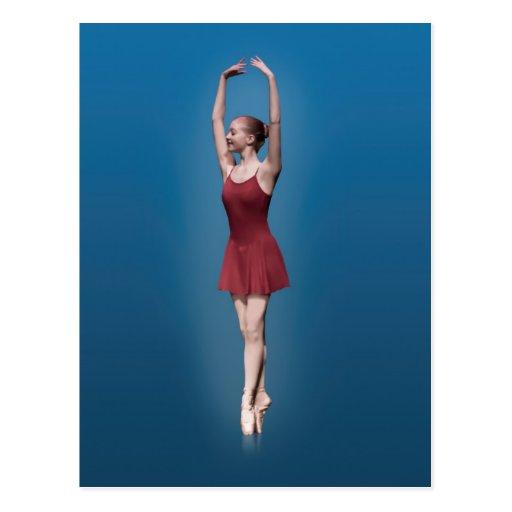 Bailarina agraciada en Pointe en Postc rojo y azul Postal
