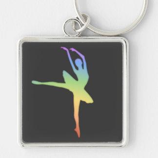 Bailarina - arco iris 1 llavero cuadrado plateado