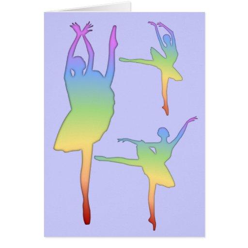 Bailarina - arco iris 3 tarjeta de felicitación