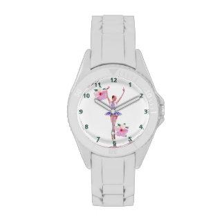 Bailarina con las flores y los números del hibisco relojes de pulsera
