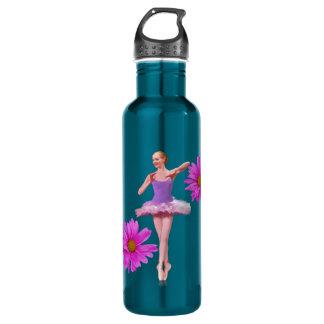 Bailarina con las margaritas rosadas botella de agua