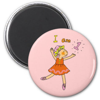Bailarina de 1 año imán redondo 5 cm