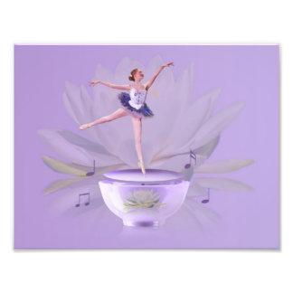 Bailarina de la caja de música con el lirio de agu fotografías