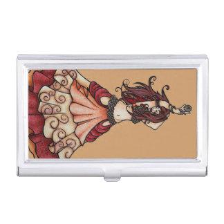Bailarina de la danza del vientre de la ascua con caja de tarjetas de presentación