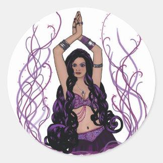 Bailarina de la danza del vientre de Umalini Pegatina Redonda