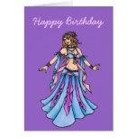 Bailarina de la danza del vientre del feliz cumple tarjetas