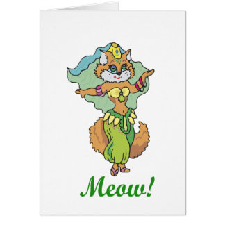 Bailarina de la danza del vientre del gato tarjeta de felicitación