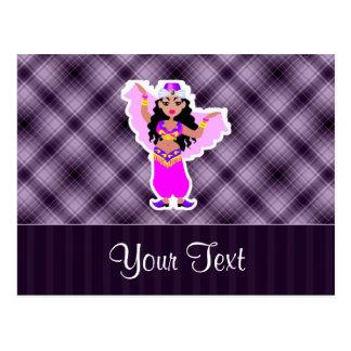 Bailarina de la danza del vientre púrpura postales