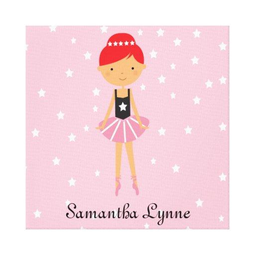 Bailarina de la estrella con el pelo rojo impresión en tela