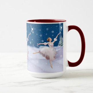 Bailarina de la reina de la nieve, estrella, copos taza
