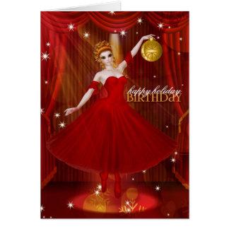 Bailarina de las vacaciones del cumpleaños en rojo tarjeta de felicitación