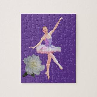 Bailarina del baile en personalizable púrpura y bl puzzles