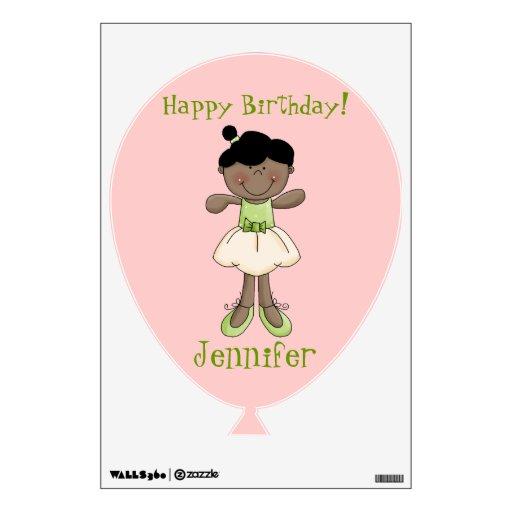 Bailarina del bonito del feliz cumpleaños+Nombre Vinilo