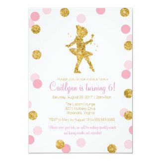 """Bailarina del brillo, rosa y cumpleaños de la invitación 5"""" x 7"""""""
