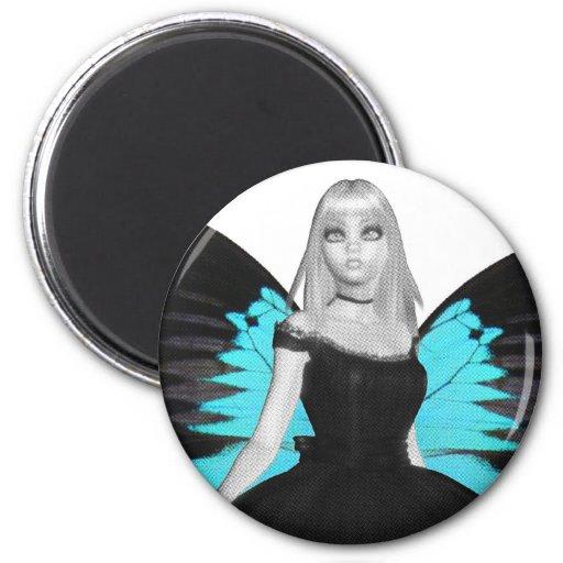 Bailarina del gótico de B&W y alas azules de la Imán Redondo 5 Cm