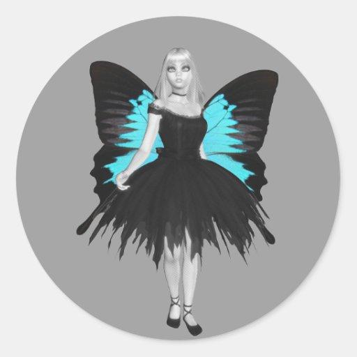 Bailarina del gótico de B&W y alas azules de la Pegatinas Redondas