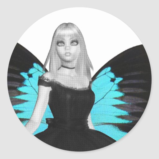 Bailarina del gótico de B&W y alas azules de la Pegatina Redonda