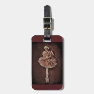 Bailarina del lago swan etiqueta de maleta