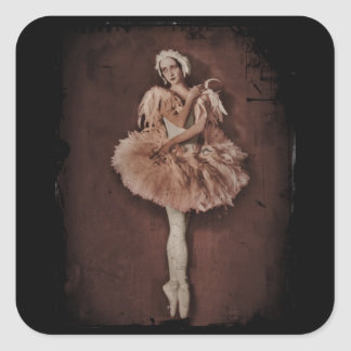 Bailarina del lago swan pegatina cuadrada