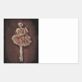 Bailarina del lago swan pegatina rectangular