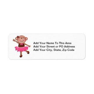 Bailarina del mono etiquetas de remite