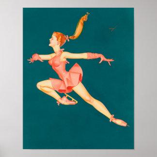 Bailarina del patinador de hielo póster